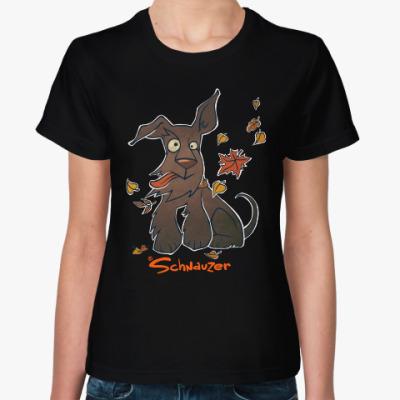 Женская футболка Осенний шнауцер