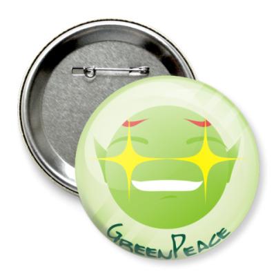 Значок 75мм Green peace