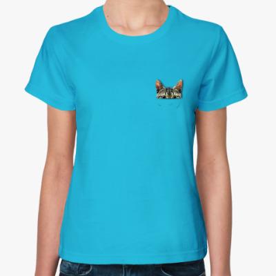 Женская футболка Котик в кармашке