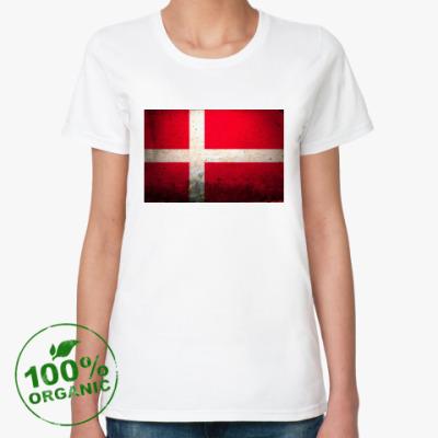 Женская футболка из органик-хлопка  'Датский флаг'