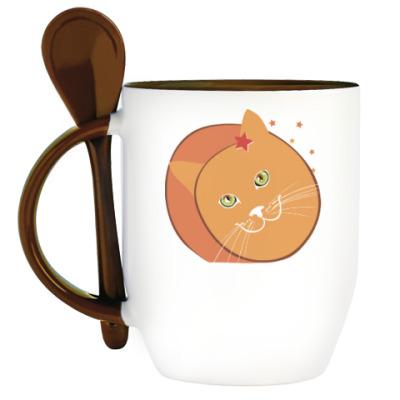 Кружка с ложкой Звездный котик