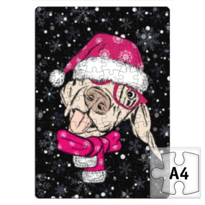 Пазл Собака Санта показывает язык