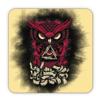 Костер (подставка под кружку) Сова (Owl) - всевидящее око