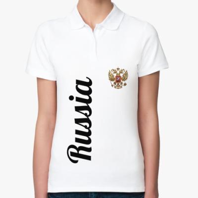 Женская рубашка поло Герб России, Гимн Российской Федерации
