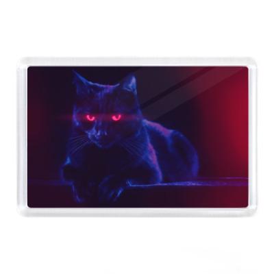 Магнит Шикарный черный кот