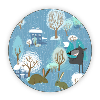Костер (подставка под кружку) 'Волк зимой...'