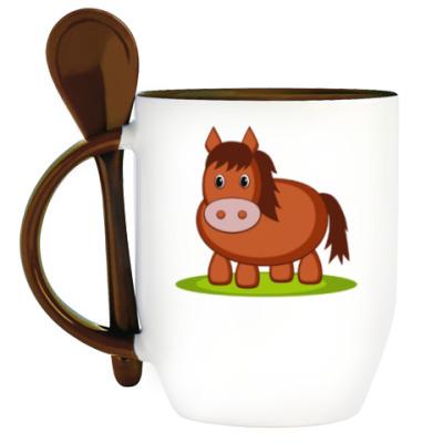 Кружка с ложкой Horse