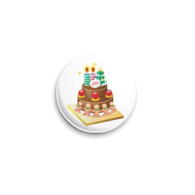 Значок 25мм Рождественский торт