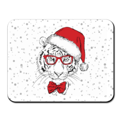 Коврик для мыши Тигр Санта Клаус