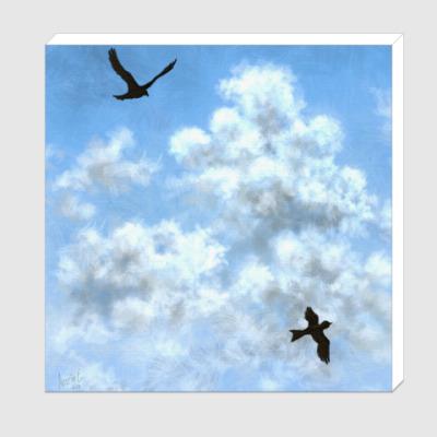 Холст Птицы. Облака