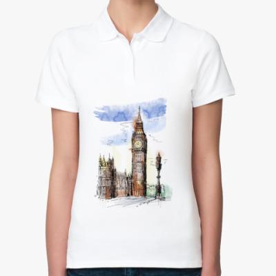 Женская рубашка поло Биг-Бен -Big Ben-Англия-Лондон