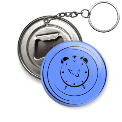 Брелок-открывашка Будильник на синем фоне