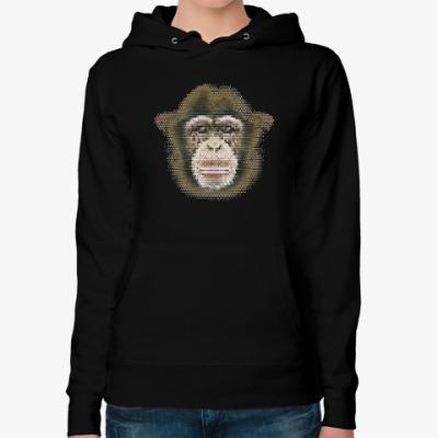 Женская толстовка худи Обезьяна (monkey)
