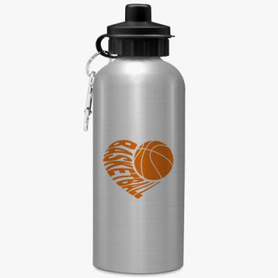 Спортивная бутылка/фляжка Баскетбол в сердце
