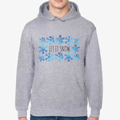 Толстовка худи Let it snow/ снежинки