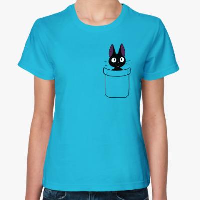 Женская футболка Кот в кармане