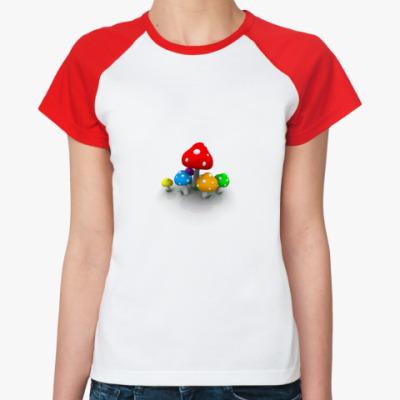 Женская футболка реглан Мухоморы