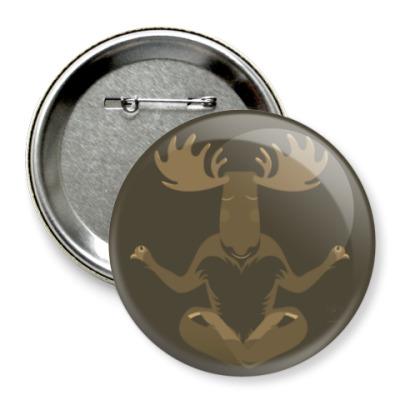 Значок 75мм Animal Zen: M is for Moose