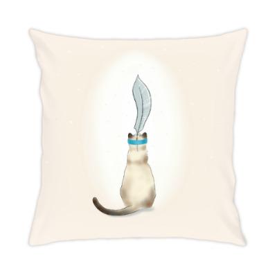 Подушка Кошка с серебряным пером