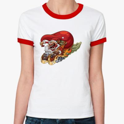 Женская футболка Ringer-T Crazy Santa