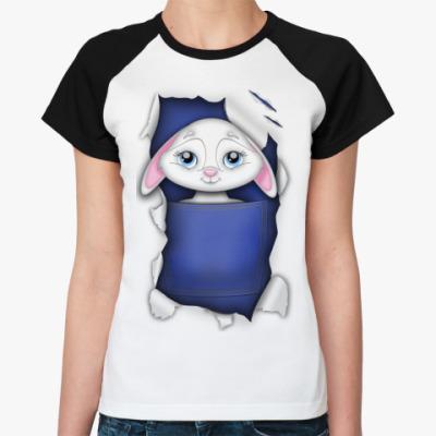 Женская футболка реглан Кролик