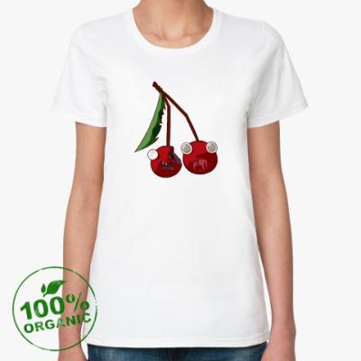 Женская футболка из органик-хлопка  Вишни-зомби
