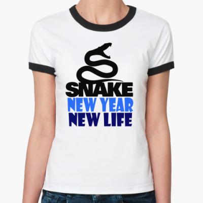 Женская футболка Ringer-T Snake -New Year New Life