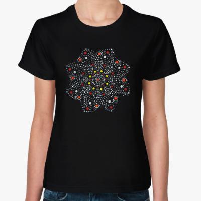 Женская футболка Мандала, ручная работа точками