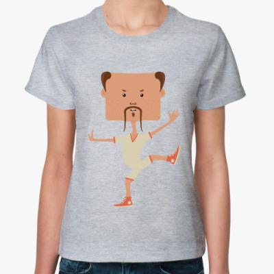 Женская футболка Смешной нарисованный каратист