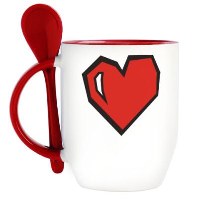 Кружка с ложкой Heart