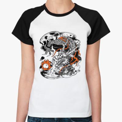 Женская футболка реглан Дракон с жемчужиной