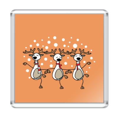Магнит Новогодний танец оленей 2014