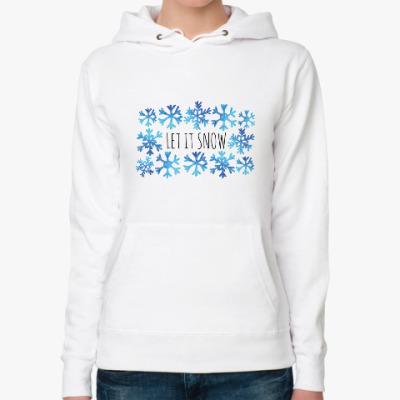 Женская толстовка худи Let it snow/ снежинки