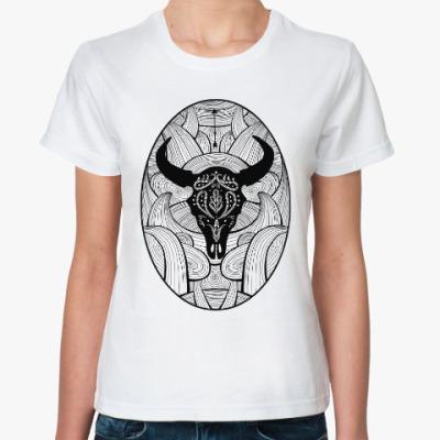 Классическая футболка Мексиканский череп быка