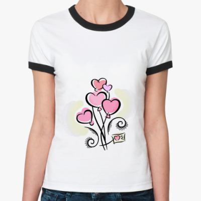 Женская футболка Ringer-T Hearts