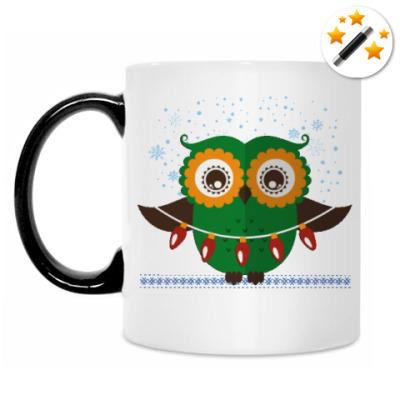 Кружка-хамелеон Зимняя сова