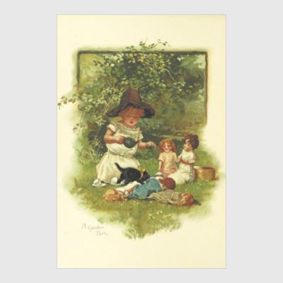 Постер Девочка играет в куклы в саду