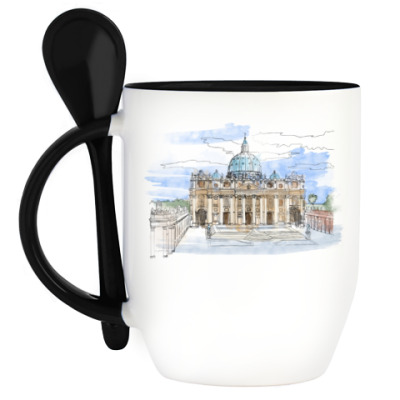 Кружка с ложкой Ватикан - Собор Святого Петра