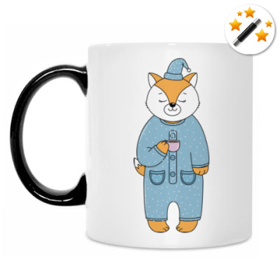 Кружка-хамелеон Лис с чашечкой утреннего кофе