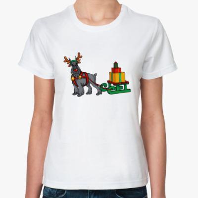 Классическая футболка Новогодний Шнауцер