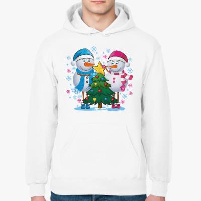 Толстовка худи Парные. Снеговик. Любовь. Зима