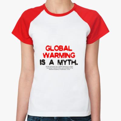 Женская футболка реглан global warming