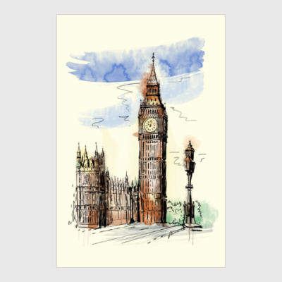 Постер/холст Биг-Бен -Big Ben-Англия-Лондон