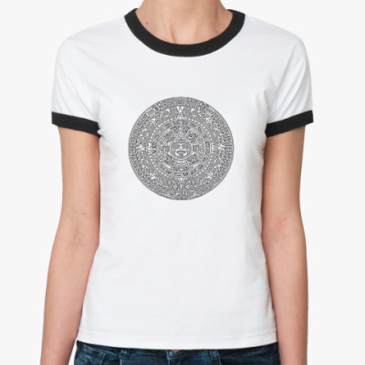 Женская футболка Ringer-T календарь ацтеков