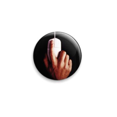 Значок 25мм  рука с мышью