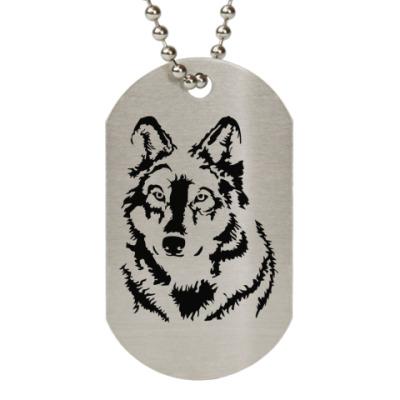 Жетон dog-tag Белый волк