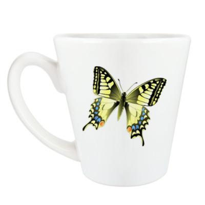 Чашка Латте Золотистая бабочка