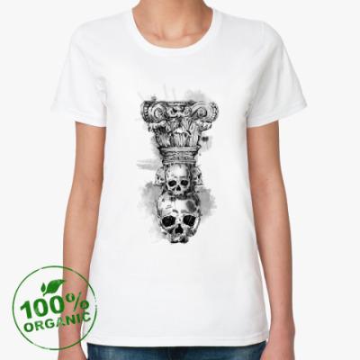 Женская футболка из органик-хлопка Череп-колонна