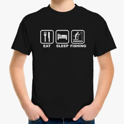 Детская футболка Еда Сон Рыбалка