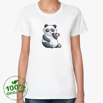Женская футболка из органик-хлопка WWF. Панда с карамелькой